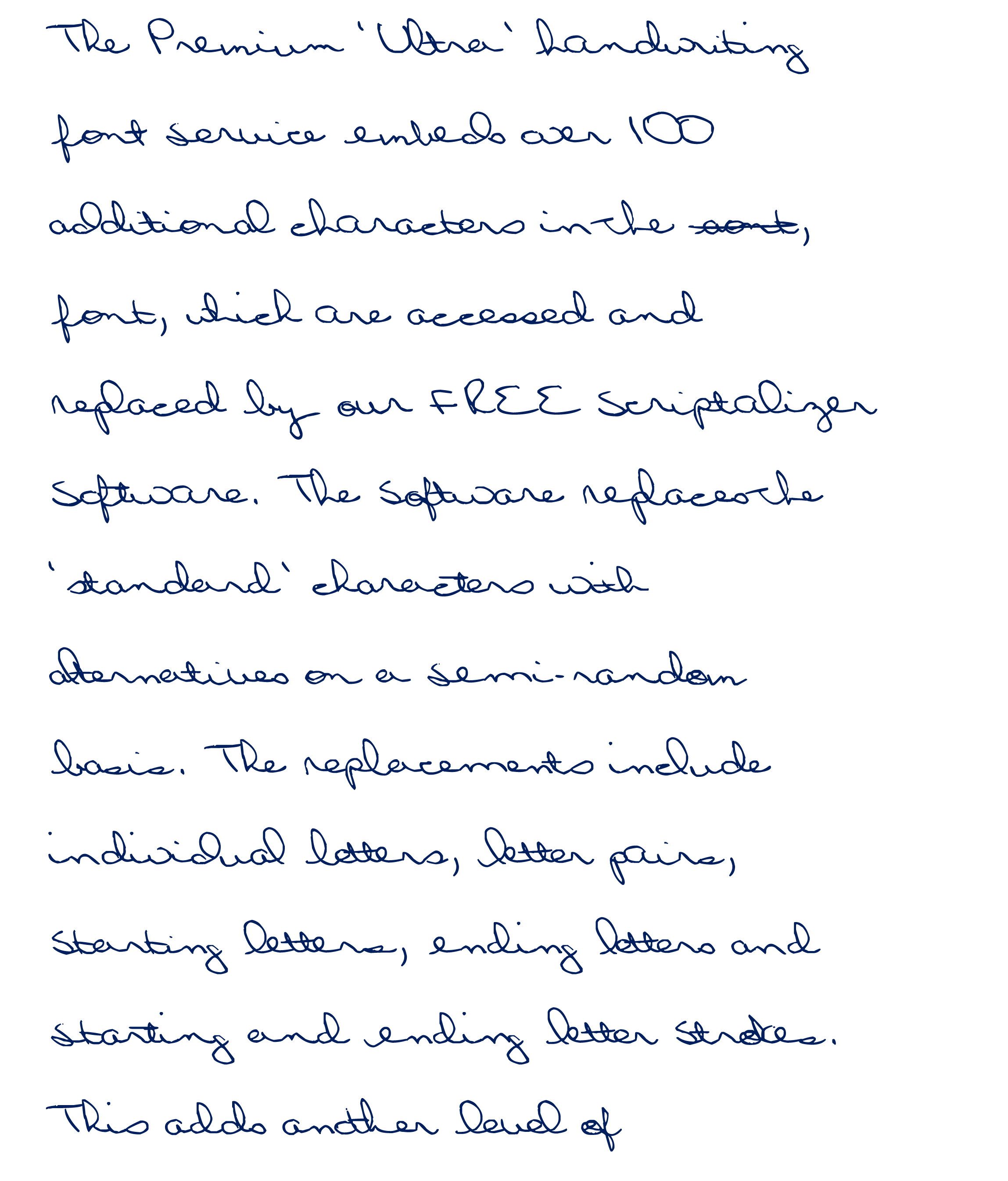 The Premium Ultra Handwriting Font Service Embeds Over 100 Additional Characters In Which Are Accessed And Replaced By Our FREE Scriptalizer