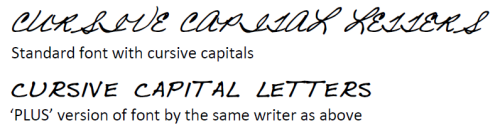 Image showing how cursive capitals do not provide good results when used together
