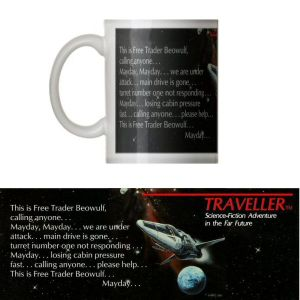Classic Traveller Mug - Free Trader Beowulf (with starship & logo)