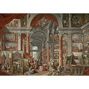Wooden Jigsaw Puzzle - Premier #6 - Picture Gallery with Views of Modern Rome by Panini