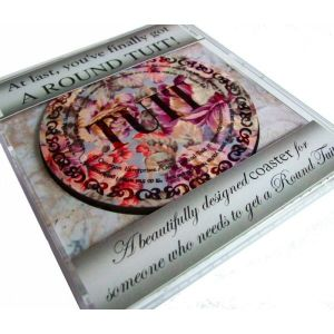 'Traditional' Round Tuit Coaster - presented in a calendar style CD jewel case