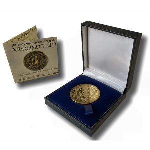 'Original' Round Tuit 100% Brass Medallion in Presentation Case