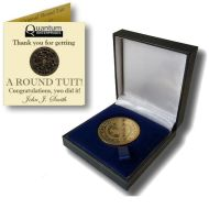 'Original' Round Tuit 100% Brass Medallion in Presentation Case (Custom Booklet)