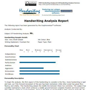 Full Handwriting Analysis - E-mail Report (Payment Only)