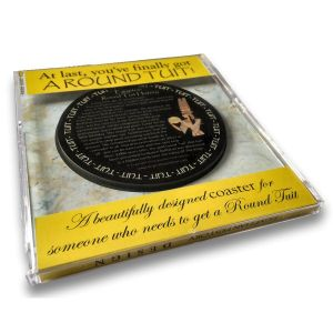'Original' Round Tuit History Coaster - presented in a calendar style CD jewel case