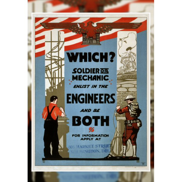 Wooden Jigsaw Puzzle - Vintage #48 - Enlist In The Engineers Vintage Poster