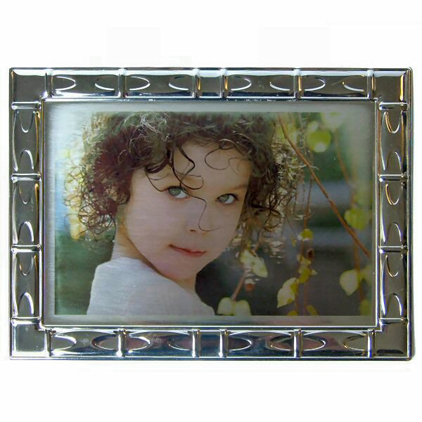 Custom Printable Silver Pattern Edged Picture Frame (18 x 13 cm) with Stand